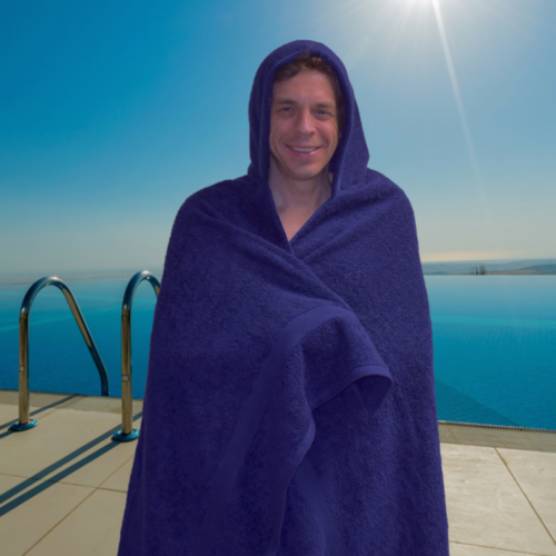 large navy hooded towel
