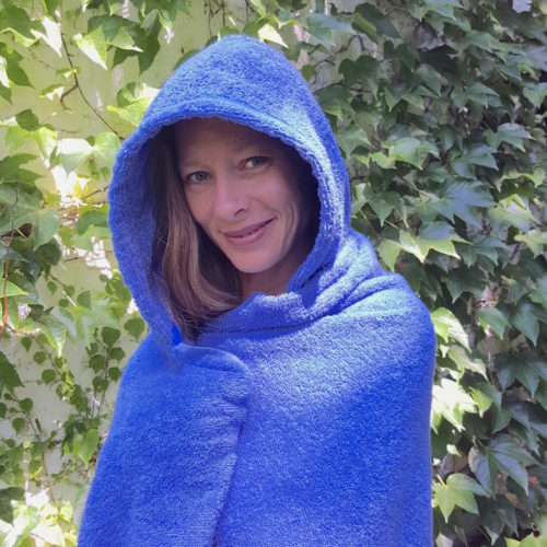 Adult blue hooded towel