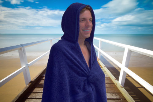 Hooded towel for adults in navy blue